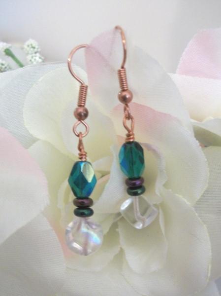 Handmade Copper Beaded Green and White Dangle Earrings