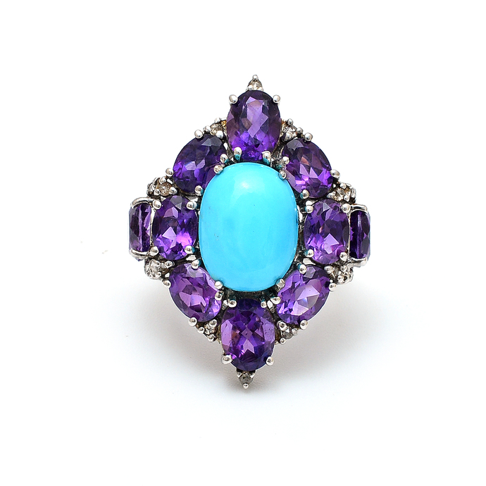 925 Sterling Silver Turquoise,Amethyst Diamond Colorful Gemstone Ring ,Turquoise