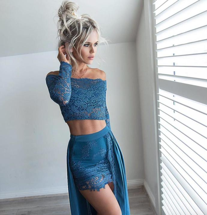 Sexy Dark Teal Two Piece Off the Shoulder Long Sleeves Lace Chiffon Prom Dress