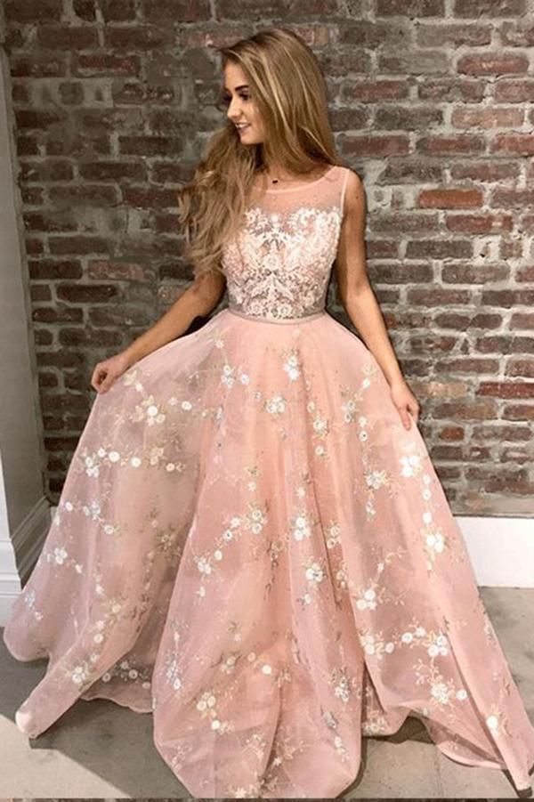 Stylish A-Line Round Neck Pink Prom Dress