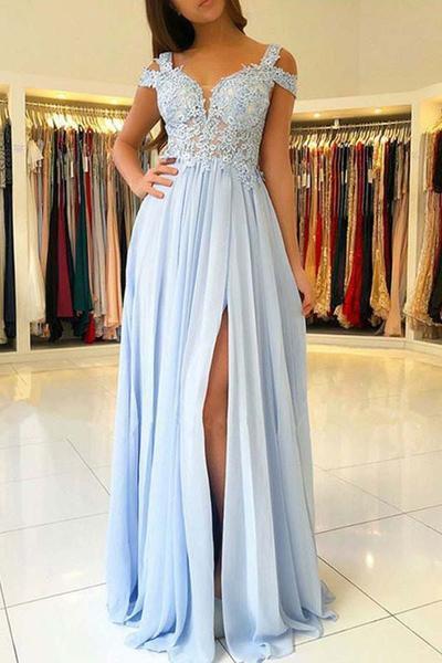 Cheap Light Blue Chiffon Split Long Prom Dresses