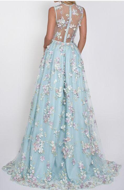 Floral Lace Deep V-neck A Line Light Sky Blue Princess Prom Dress