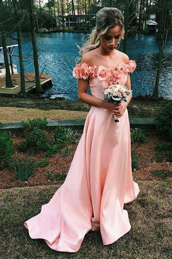 New Arrival Off the Shoulder A Line Pink Satin Long Prom Dress