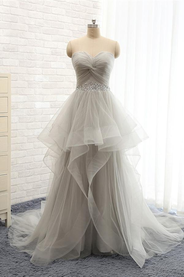 Back Up Lace Strapless Beaded Sweep Train Prom Dresses