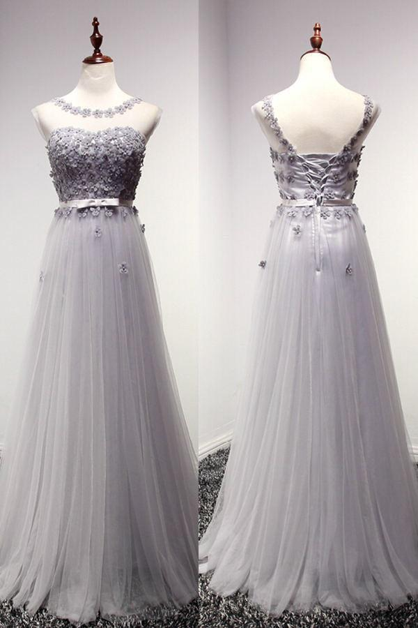 Newest Charming Lace Long Cap Sleeves Prom Dresses