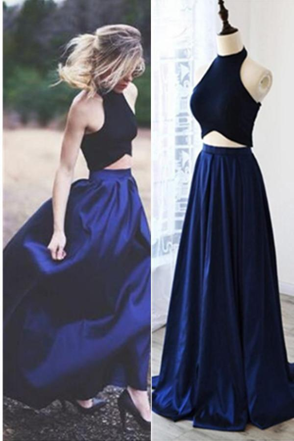 Two Pieces Royal Blue A-line Long Simple Halter Open Back Prom Dresses