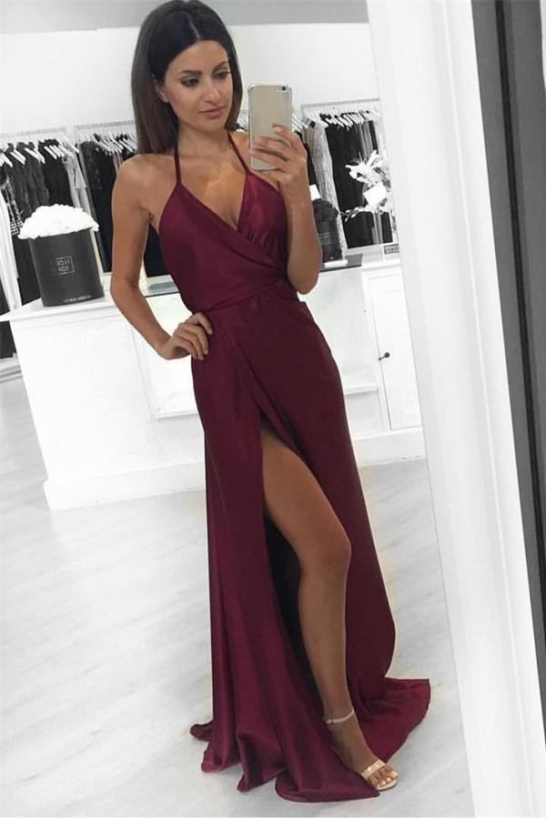 Simple Burgundy Plus Size Cheap Long A-line Handmade V-neck Prom Dresses