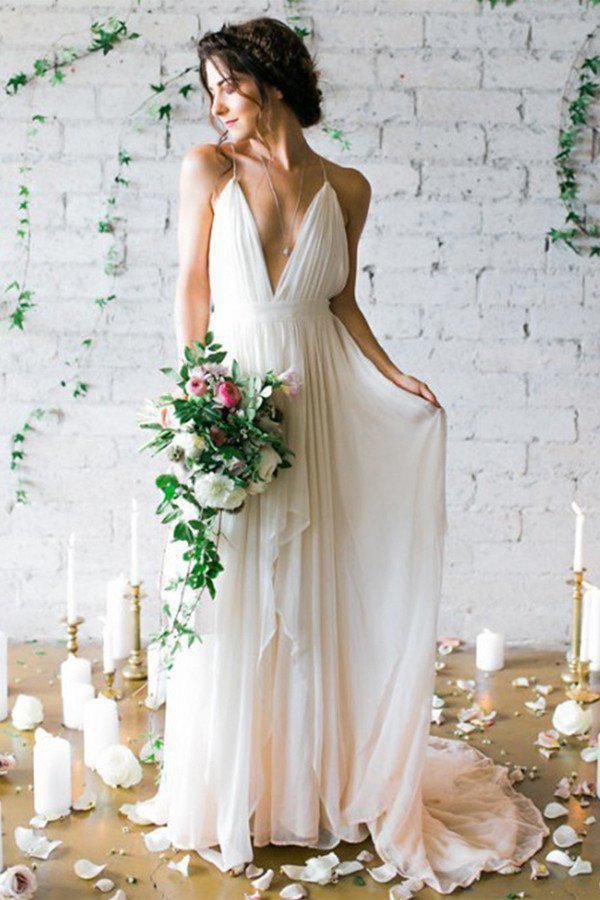Simple Backless Beach Summer Wedding Dresses, Chiffon LongWedding Gowns