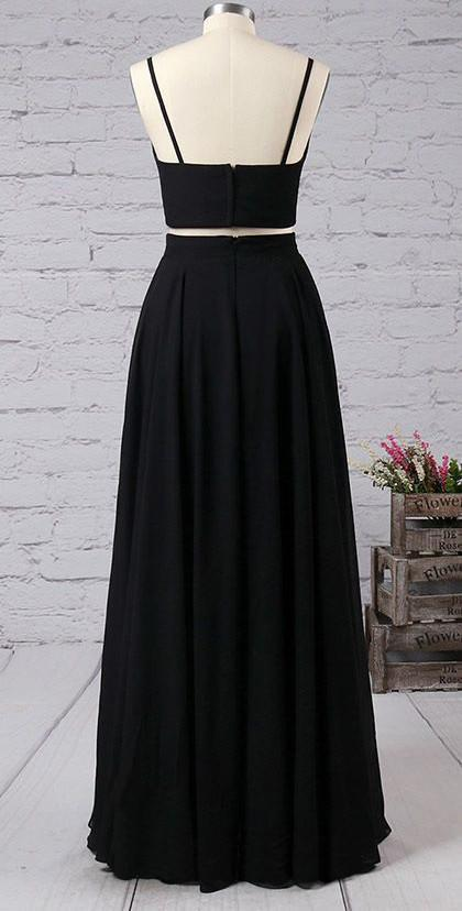 Simple Black Two Pieces Long Cheap Modest Prom Dresses Party Dresses