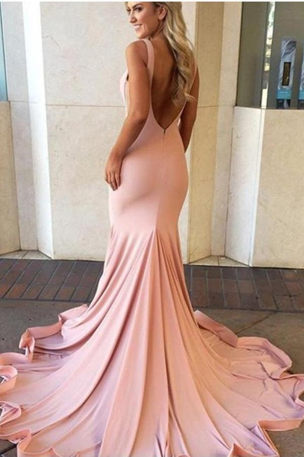 Pink Sweep Train Backless Simple Cheap Mermaid Long Party Prom Dresses