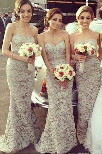 Sexy Sweetheart Mermaid Lace Long Bridesmaid Dresses