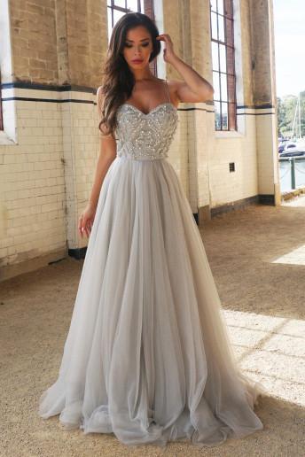 Princess A-Line Spaghetti Straps Floor-Length Beading Prom Dress/Wedding Dresses