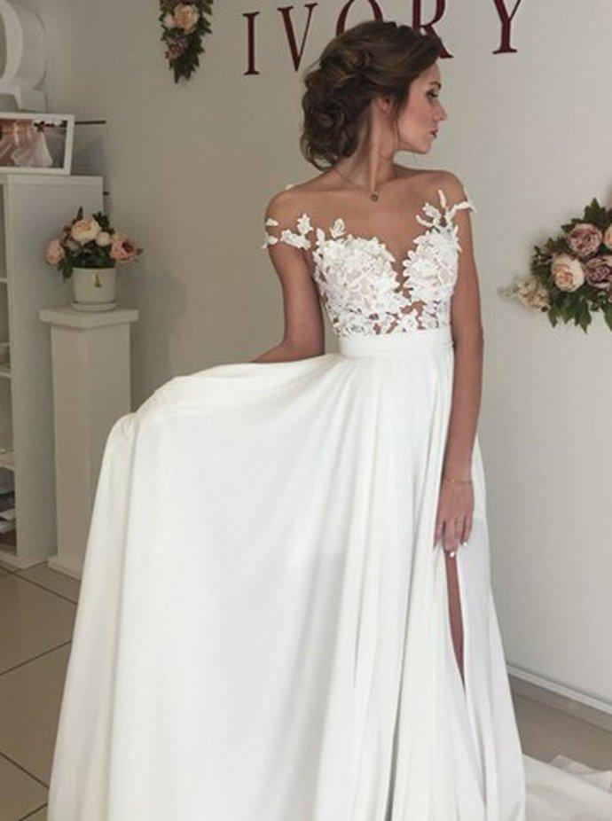 Elegant White Chiffon Wedding Dresses with Appliques, Sweep Train A Line Wedding