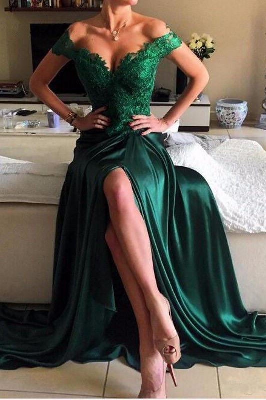 Elegant Dark Green Lace Prom Dress,Long Green Evening Dress