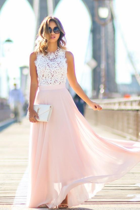 Modest Chiffon A Line Long Prom Dresses,Blush Pink White Lace Evening Dresses