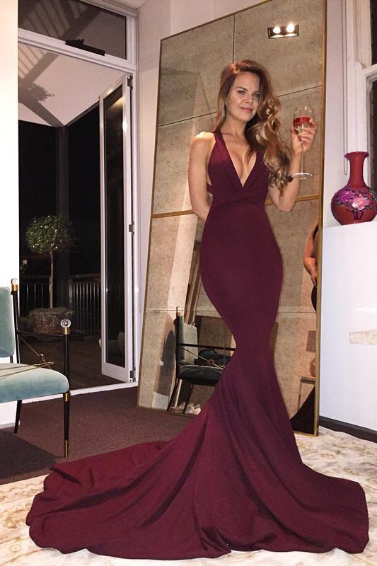 Gorgeous V-neck Mermaid Prom Dress with Train, Burgundy Long Prom Dress