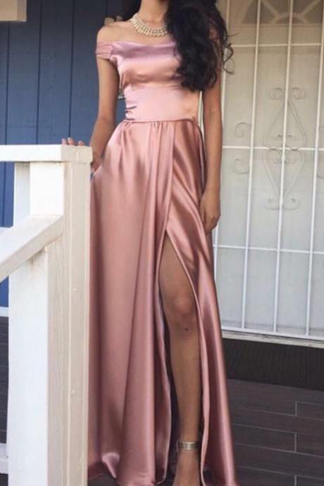 Pink Long Slit Elegant off the shoulder Prom Dress, Long Evening Women Formal