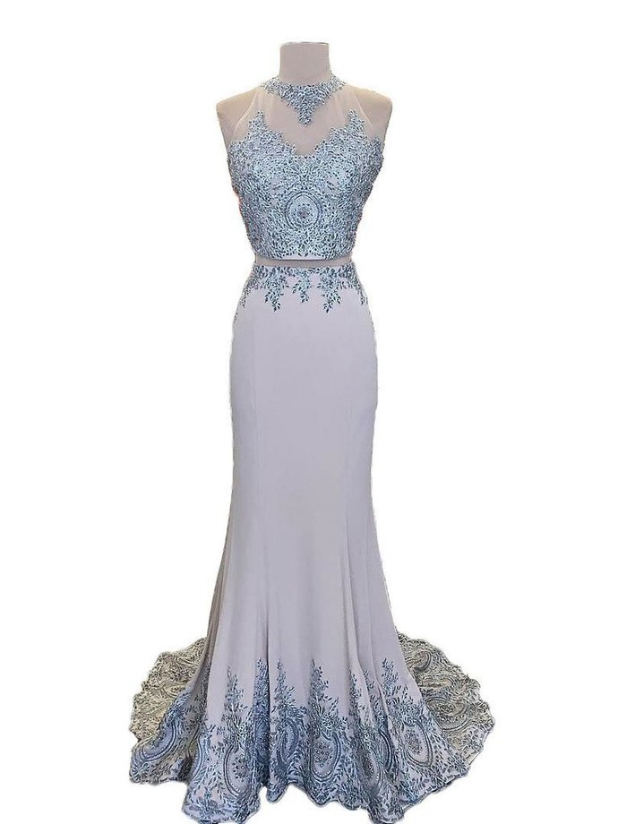 Lace Appliqued 2 Pieces Mermaid Sweep Train Prom Dresses
