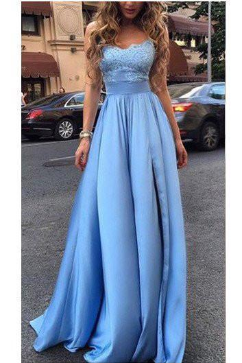 Blue Sexy Evening Formal Dress,Lace A Line Prom Gown Long Charming Prom Dress