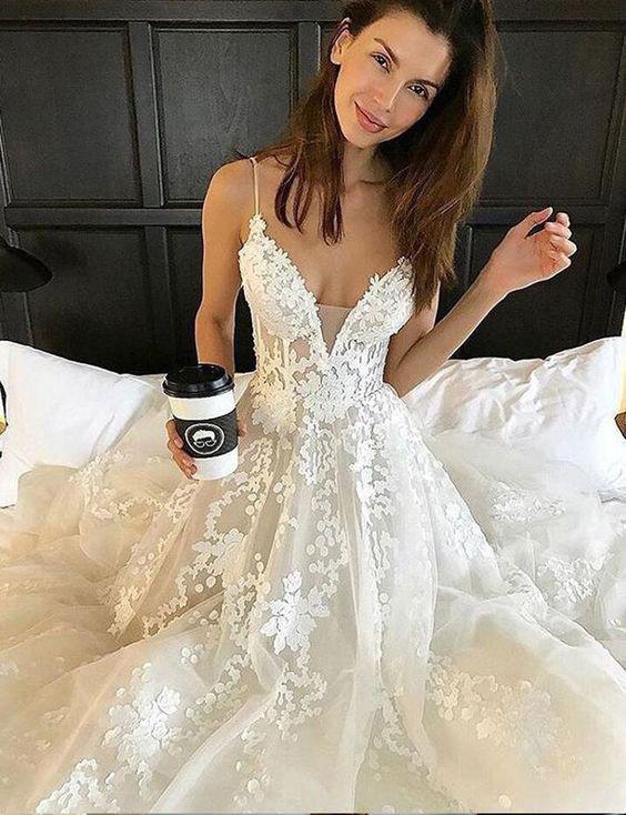 Sexy Deep V neck Lace Backless Bridal Dresses,Spaghetti Straps Beach Long