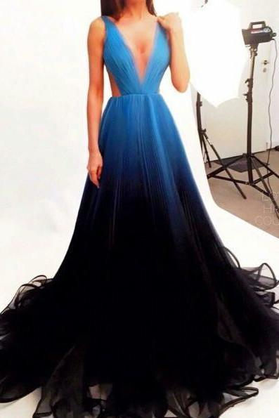 Black Blue Gradient Tulle Long Evening Party Dress,A Line V-neck Prom Dresses