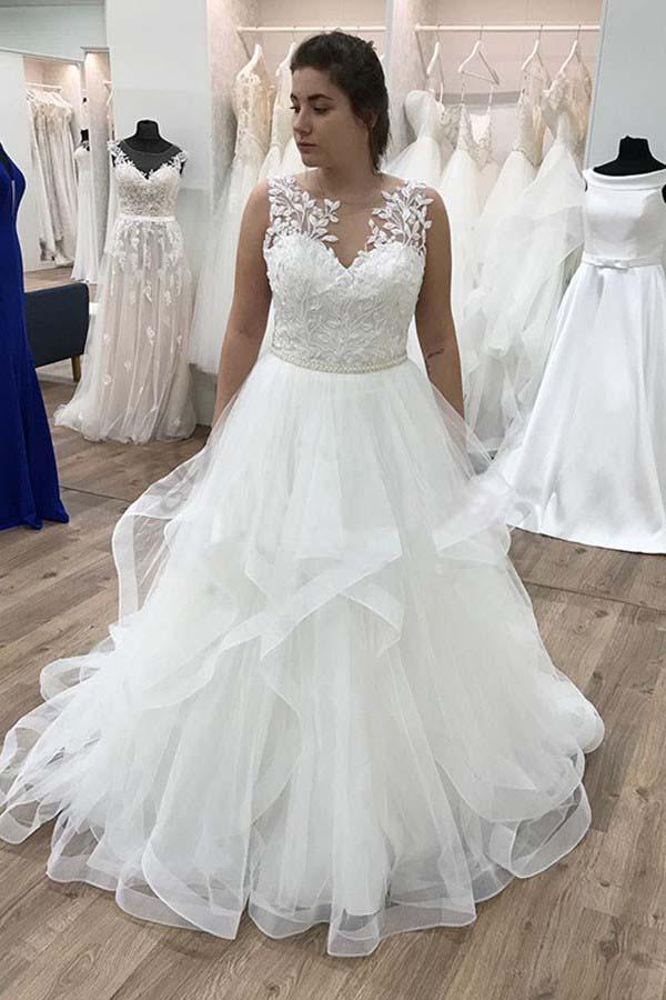Plus size White Floor Length Wedding Dress with Ruffle,Lace Ball Gown Woman