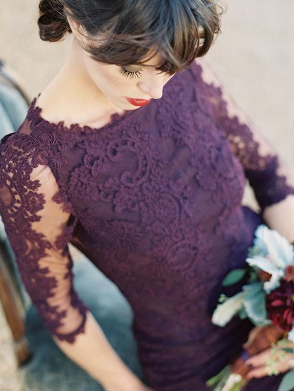 Gorgeous Half Sleeves Mermaid Long Purple Lace Open Back Bridesmaid Dress