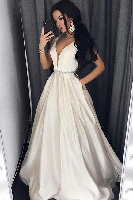 Sexy Deep V-Neck Ivory Long Prom Dress with Pockets,Formal Evening Dress