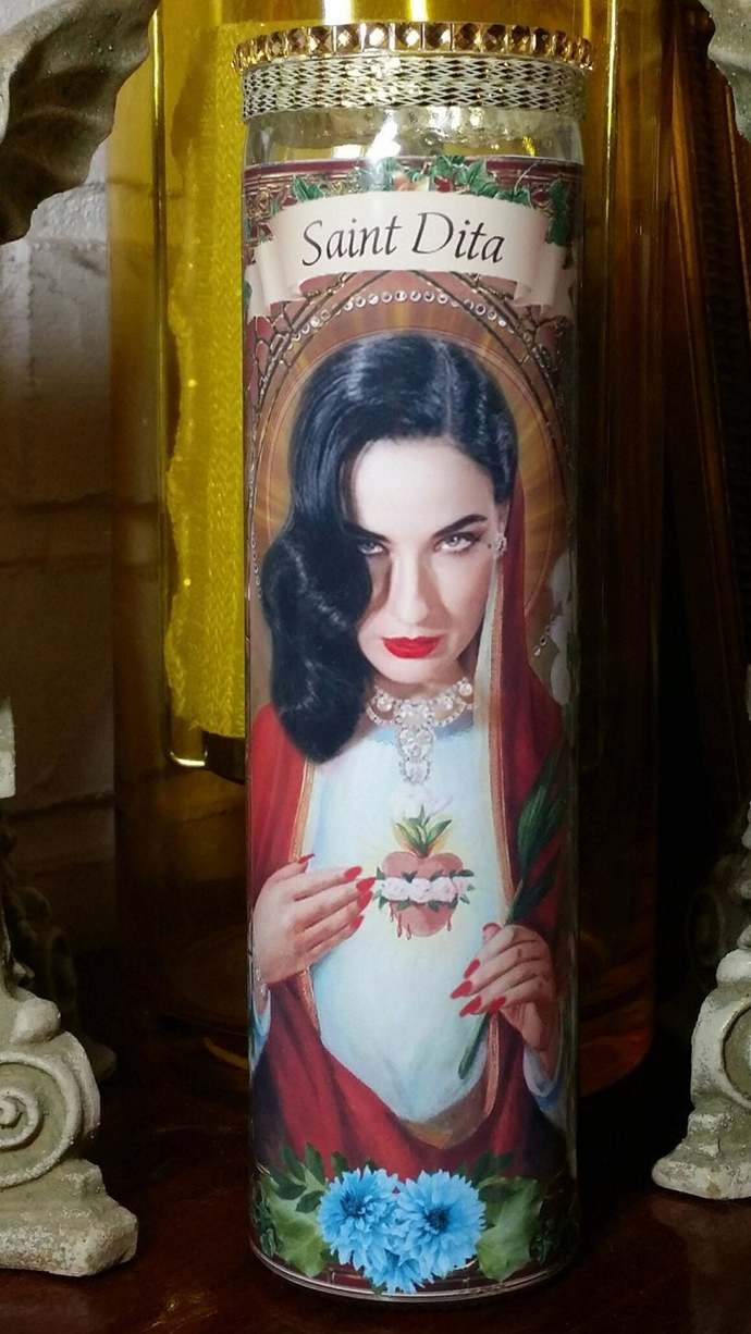 Dita Von Teese Gorgeous Celebrity Saint prayer Candle