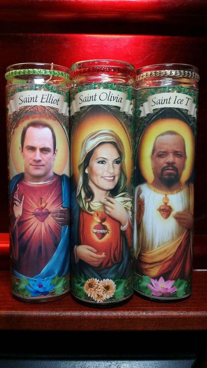 Cast of SVU:  Olivia, Elliot and Fin - SET of 3 Celebrity Church  Saint Prayer