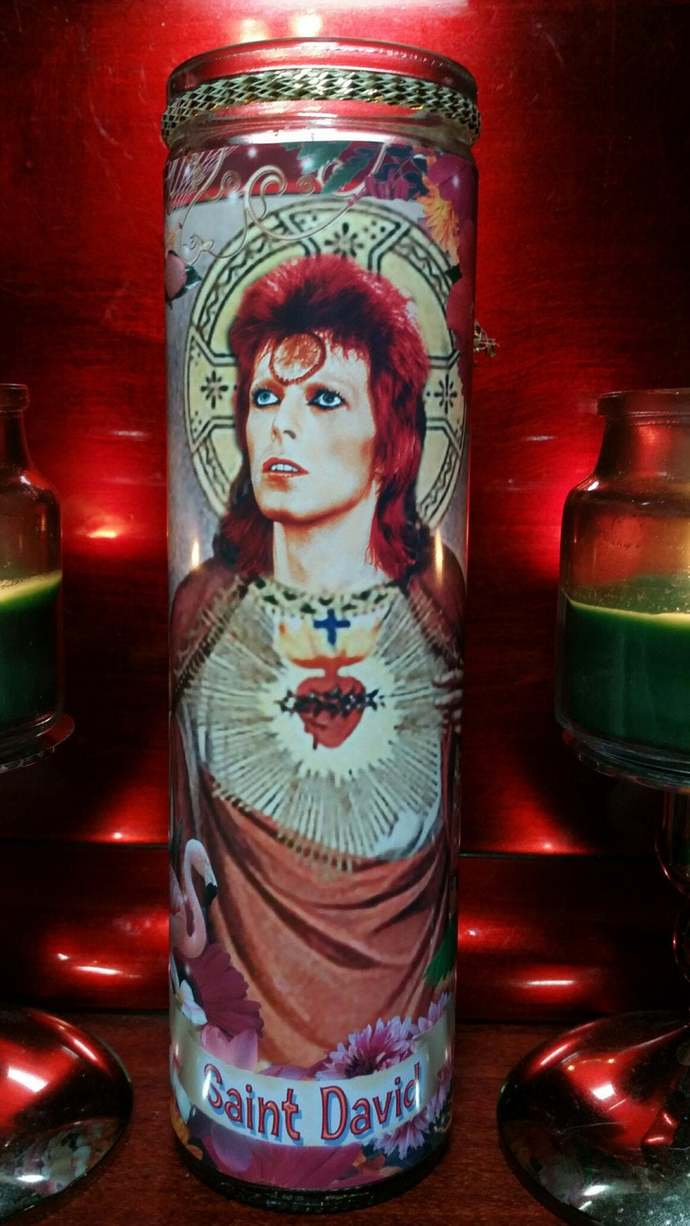 David Bowie Ziggy Stardust in Celebrity Tropical Saint Prayer Candle