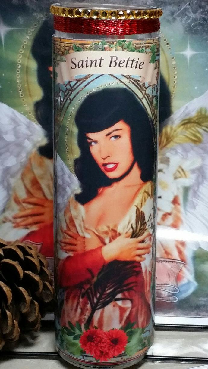 Bettie Page - Vintage Beauty - Celebrity Saint Prayer Candle