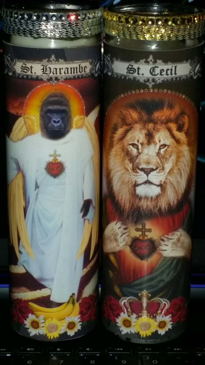 2 Candles - Cecil the Lion, Harambe the Low Land Gorilla  - Celebrity Pet Saint