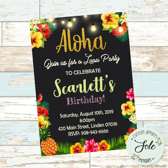 "Aloha Luau Birthday Party Invitation (5""x7"")"