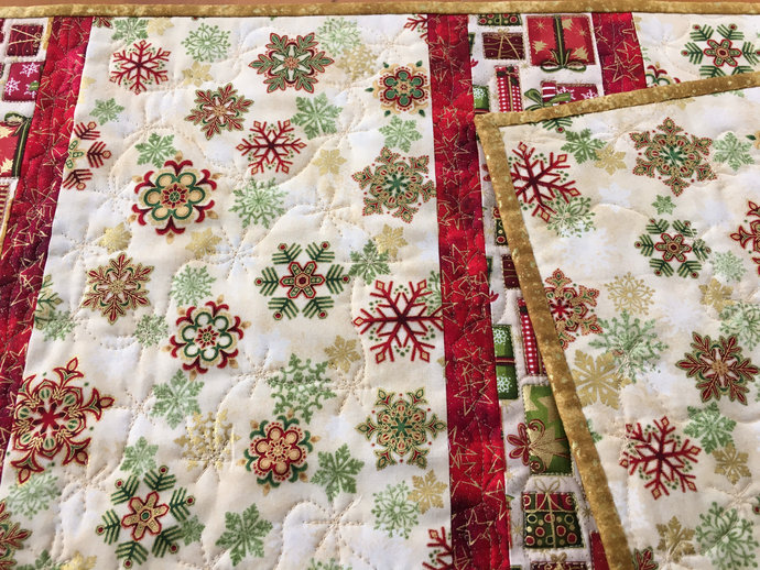 Table Runner Christmas Presents and Snowflakes Holiday Decor