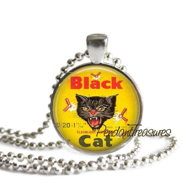 Black Cat Firecrackers Art Charm, Fourth of July Pendant, Keychain, Jewelry,