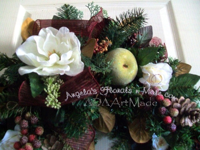 Magnolia n Fruit Swag Flexible Wall or Entry Wintry Fall~Decorative Year