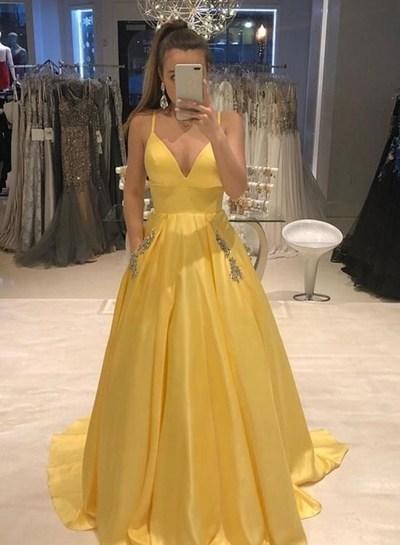 Elegant V-Neck A-Line  Prom Dresses,Long Prom Dresses,Cheap Prom Dresses,