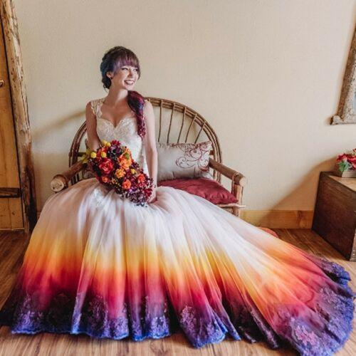 Deep V-neck  Wedding Dress colorful Wedding Dresses, Backless Long Bridal Dress