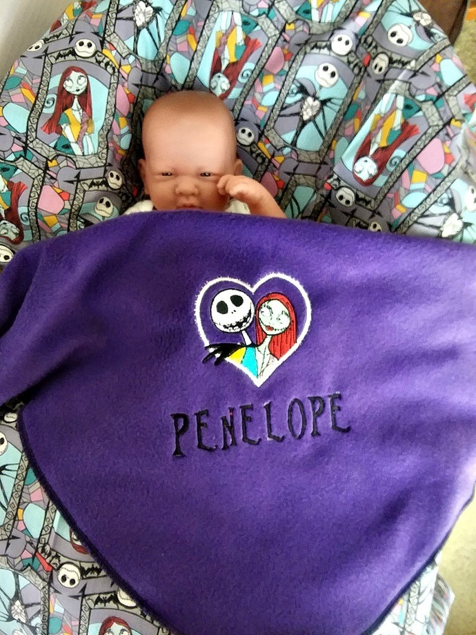 Jack and Sally baby blanket - custom name - Nightmare Before Christmas Baby