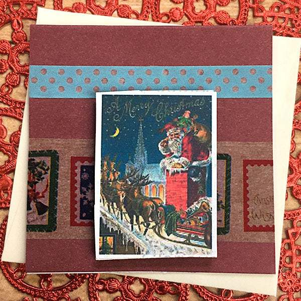 Santa in the Chimney Mini-Card, Gift Tag, Vintage Look, Holiday, Merry