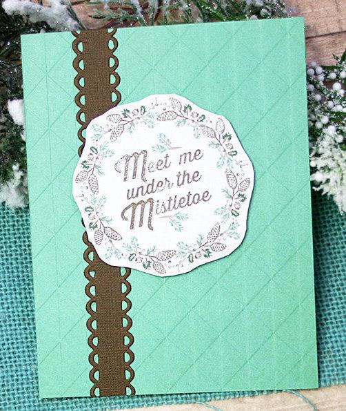 Meet Me Under The Mistletoe Holiday Greeting Card, Christmas, Kiss, Sweetheart,