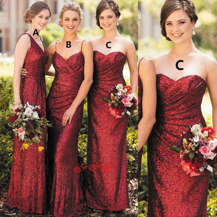 Burgundy sequin bridesmaid dresses long mismatched sparkle cheap elegant wedding
