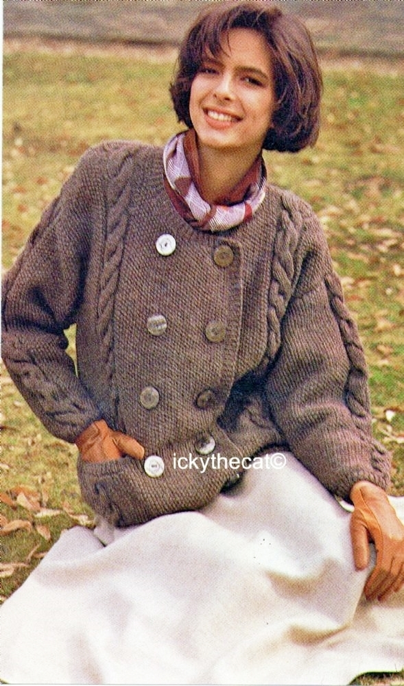 Instant PDF Digital Download Vintage Knitting Pattern Ladies Womens Cable Double