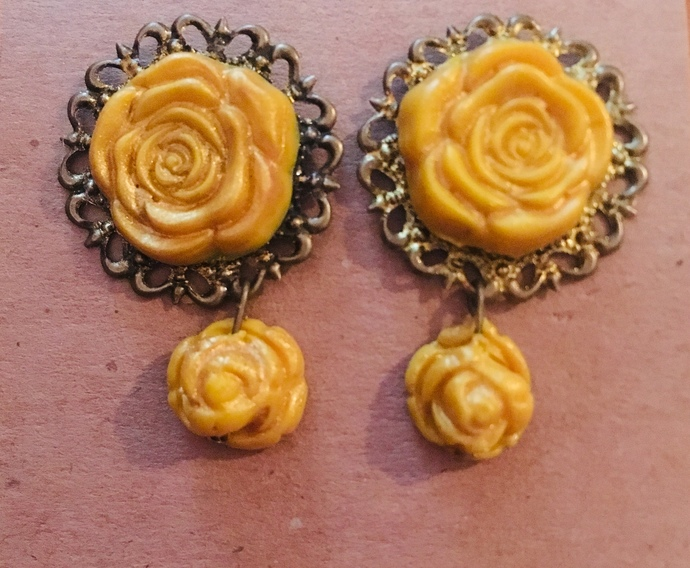 Clay Cabochon Earrings ~ Yellow Rose ~ Antique Brass