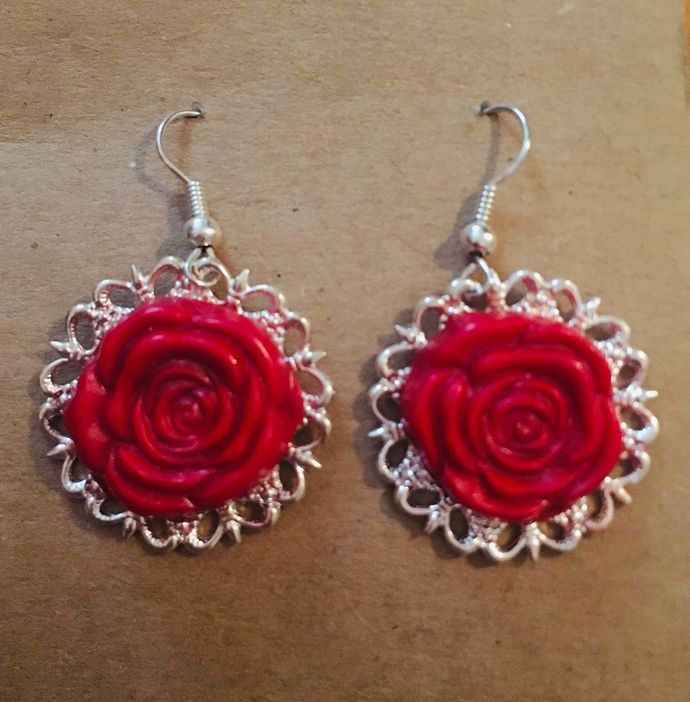 Red Rose Cabochon Dangle Earrings