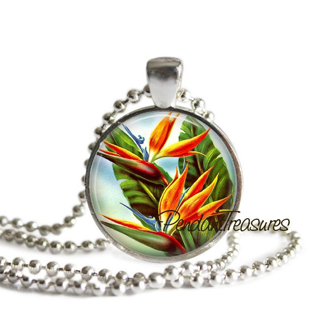 BIRD Of PARADISE Flower Necklace Art Pendant Jewelry with Chain, Tropical