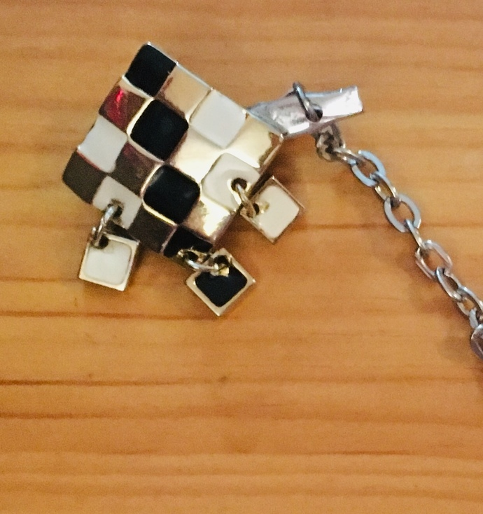 Sweater clips ~ gold, black, and white checkerboard pattern