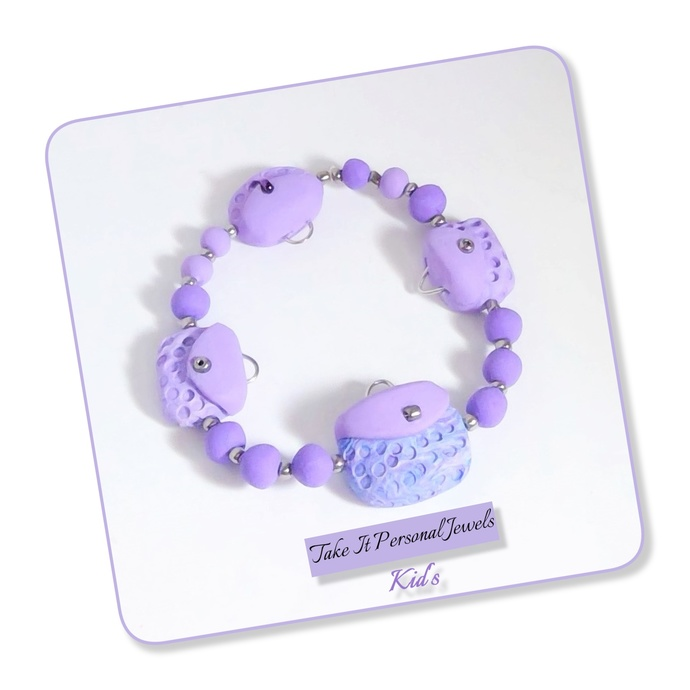 Girl's Purple Purse Handmade Stretch Bracelet charm polymer clay jewelry for