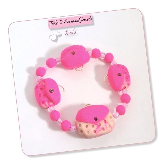 Girl's Hot Pink Purse Stretch Bracelet polymer clay jewelry charms